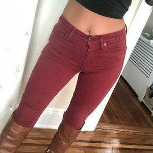 High waist burnt orange/burgundy gap jeans😍